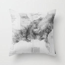 1860 Census Map showing the distribution of slave population of southern states of United States Throw Pillow