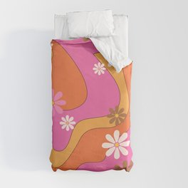 Groovy 60's and 70's Flower Power Pattern Duvet Cover