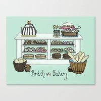 british Canvas Prints featuring British Bakery by Hayley Bowerman Design