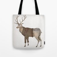 stag Tote Bags featuring Stag by David Fleck