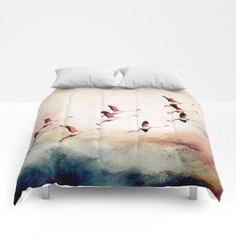 Flock of Flamingos Comforters