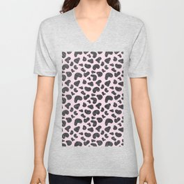 Girly pastel pink hipster black glitter animal print Unisex V-Neck