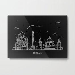 Kolkata Minimal Nightscape / Skyline Drawing Metal Print