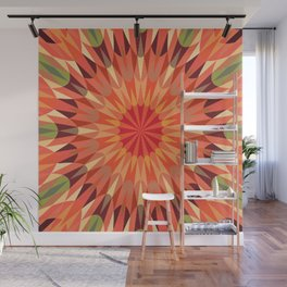 Living Coral Retro Geometry Earth Tones Wall Mural