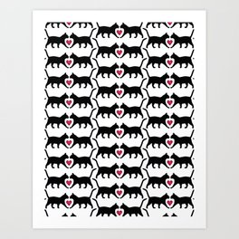 Black Cats & Magenta Hearts - Pink, Black & White Cat Pattern Art Print