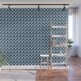 Linen White V Chevron Pattern on Blue Pair To 2020 Color of the Year Chinese Porcelain PPG1160-6 Wall Mural