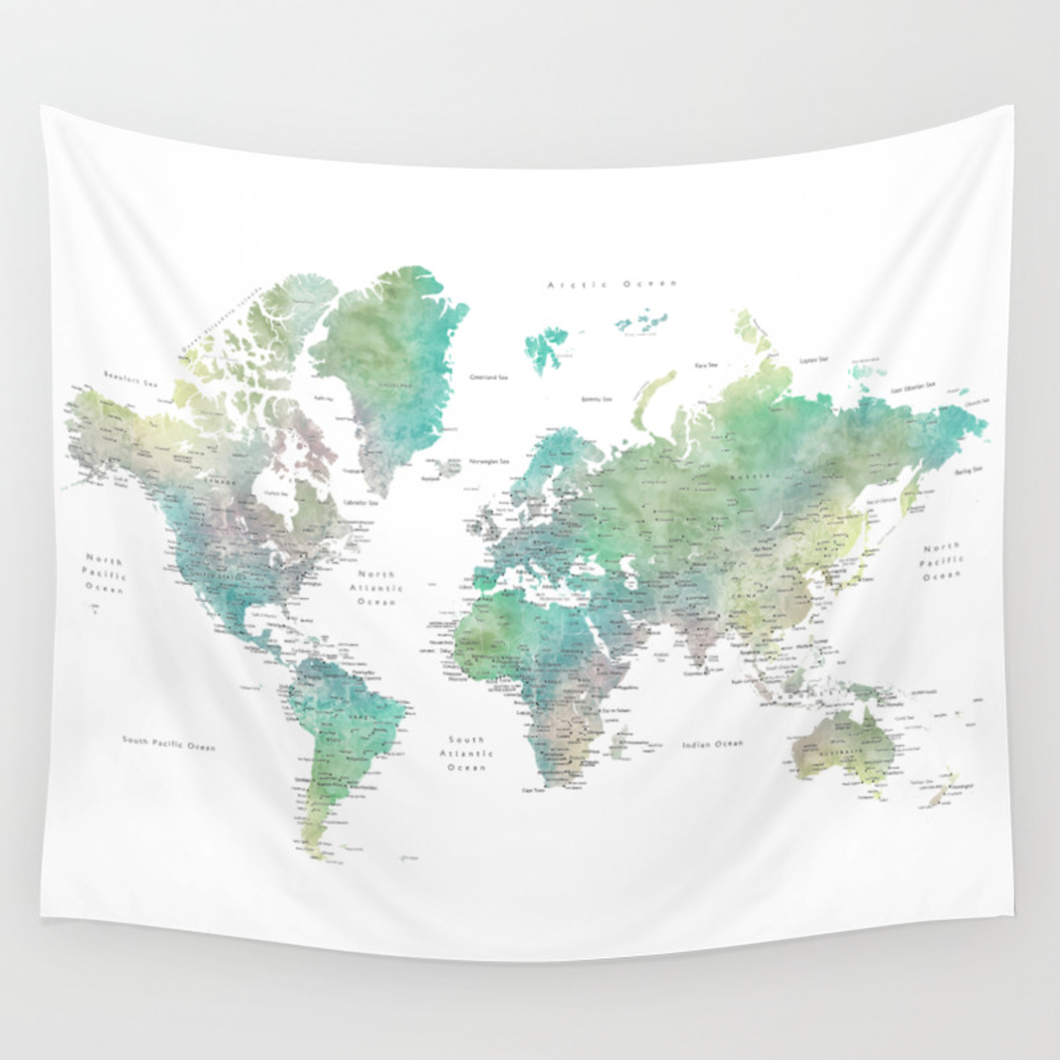 Watercolor world map in muted green and brown Wall Tapestry on