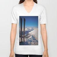 ski V-neck T-shirts featuring ski by Vi Glory