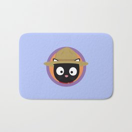 Park ranger cat in purple circle Bath Mat