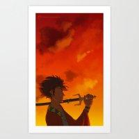 samurai champloo Art Prints featuring Samurai Champloo - Mugen by BBANDITT