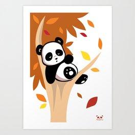 Sleepy Panda in a Tree Art Print