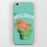 wisconsin iPhone & iPod Skins featuring Wisconsin Map by Stephanie Marie Steinhauer