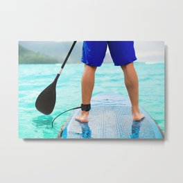 SUP Paddleboard surfer dude on stand-up paddleboard surf board Metal Print