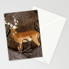 Wonderful antelope with flowers Stationery Cards