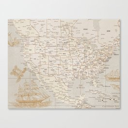Vintage map of USA with sea monsters and sail ships Canvas Print