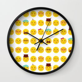 Cheeky Emoji Faces Wall Clock
