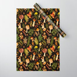 Vintage & Shabby Chic - Autumn Harvest Black Wrapping Paper