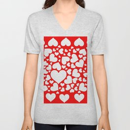 WHITE VALENTINE HEARTS ON RED Unisex V-Neck