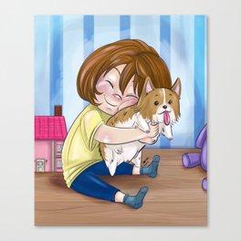 Corgi Hugs Canvas Print
