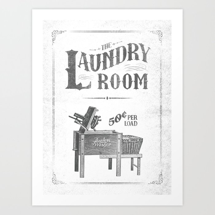 Farmhouse Laundry Sign Rustic Vintage Distressed Shabby Chic Room Art Print