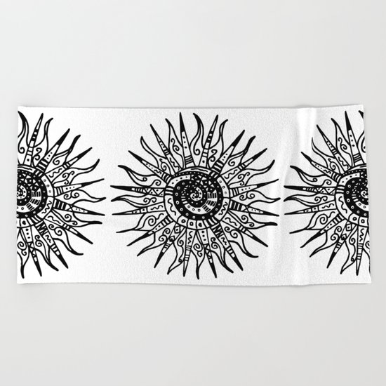 Sun Doodle black and white drawing Beach Towel