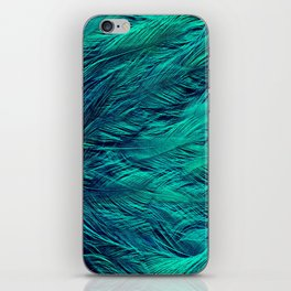 Teal Feathers iPhone Skin