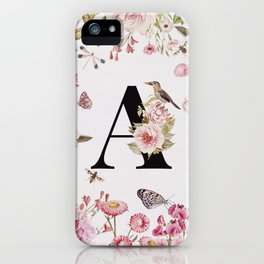 LETTER A MONOGRAM WALL ART WITH FLOWERS iPhone Case