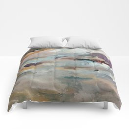 Gentle Beauty [3] - an elegant acrylic piece in deep purple, red, gold, and white Comforters