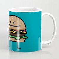 french fries Mugs featuring Happy Cheeseburger and French Fries by Berenice Limon