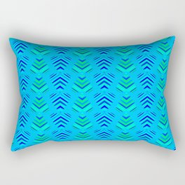 Pattern of intersecting azure hearts and sea water stripes. Rectangular Pillow