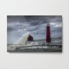 New Years Day Storm at the Grand Haven Lighthouse in Michigan Metal Print