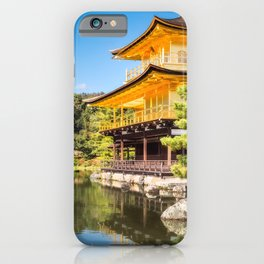 Side View of the Golden Pavilion in Kyoto, Japan. iPhone Case