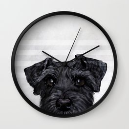 Black Schnauzer Dog illustration original painting print Wall Clock