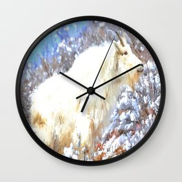 Mountain Goats In the Alpine Wyoming Mountain - Rocky Mountain Goat Wall Clock