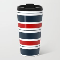 Red, White, and Blue Horizontal Striped Metal Travel Mug