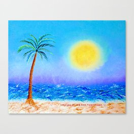 """""""Belmont's Beach #4"""" Oil Painting with Palm Tree Canvas Print"""