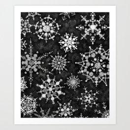 Gray Snowflakes Art Print