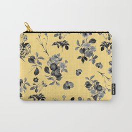 Black and White Floral on Yellow Carry-All Pouch