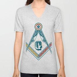 Square and Compass - freemasonry Unisex V-Neck