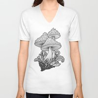 mushrooms V-neck T-shirts featuring Mushrooms by Sushibird