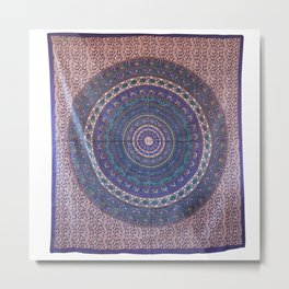 Indian Mandala Hippie Cotton Tapestry Metal Print