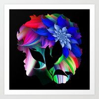 afro Art Prints featuring Afro by SmartyArt Chick