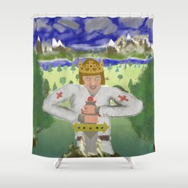 King Arthur Extracts Excalibur Shower Curtain