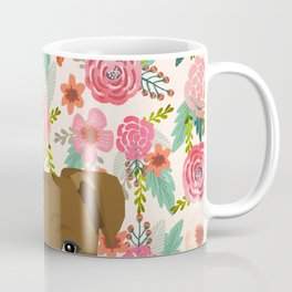 Pitbull floral dog portrait pibble peeking face gifts for dog lover Coffee Mug