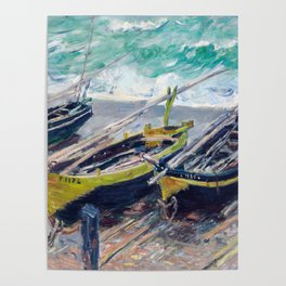 Three Fishing Boats by Claude Monet Poster