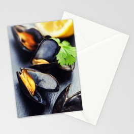 group of boiled mussels in shells Stationery Cards
