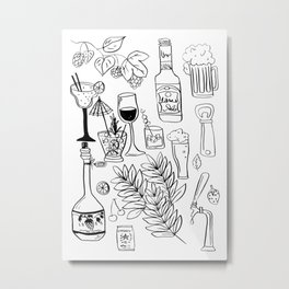Alcohol Doodles Metal Print