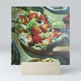 Salad, retro kitchen Mini Art Print