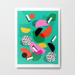Flange - memphis inspired pop art retro throwback 1980s neon style art print decor hipster socal Metal Print