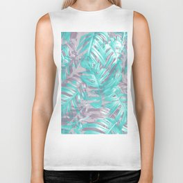 Teal and Silver foliage Biker Tank